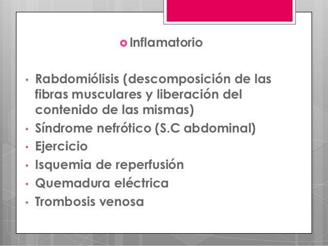  Inflamatorio•   Rabdomiólisis (descomposición de las    fibras musculares y liberación del    contenido de las mismas)• ...
