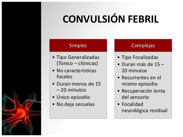 CONVULSIÓN FEBRIL       Simples                Complejas• Tipo Generalizadas    • Tipo Focalizadas  (Tónico – clónicas)   ...