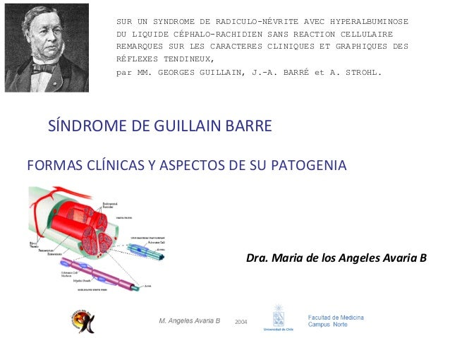 2004 SÍNDROMEDEGUILLAINBARRE Dra.MariadelosAngelesAvariaB FORMASCLÍNICASYASPECTOSDESUPATOGENIA SUR UN S...