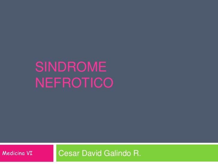 SINDROME NEFROTICO<br />Cesar David Galindo R.<br />Medicina VI<br />