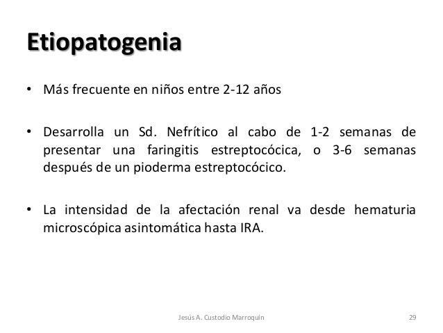 Etiopatogenia• Más frecuente en niños entre 2-12 años• Desarrolla un Sd. Nefrítico al cabo de 1-2 semanas de  presentar un...