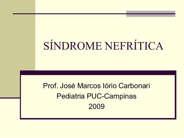 SÍNDROME NEFRÍTICA  Prof. José Marcos Iório Carbonari Pediatria PUC-Campinas 2009