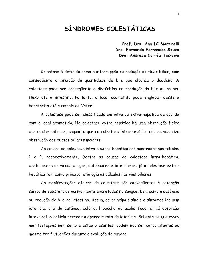 1                   SÍNDROMES COLESTÁTICAS                                                  Prof. Dra. Ana LC Martinelli  ...