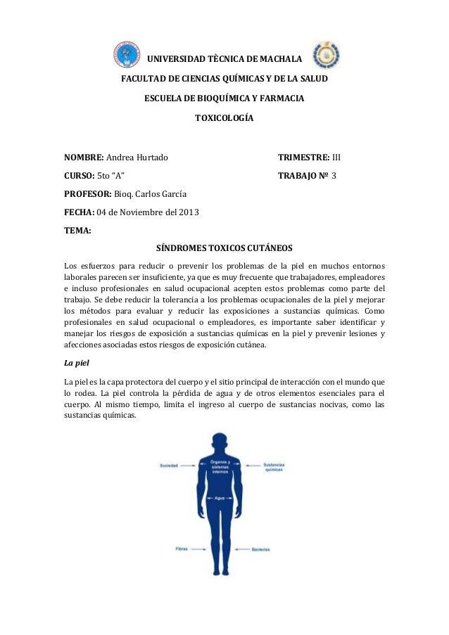 UNIVERSIDAD TÈCNICA DE MACHALA FACULTAD DE CIENCIAS QUÍMICAS Y DE LA SALUD ESCUELA DE BIOQUÍMICA Y FARMACIA TOXICOLOGÍA  N...