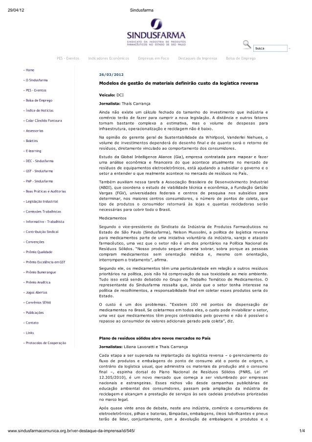 Sindusfarma - Modelos de gestão de materiais definirão os custos da logística reversa