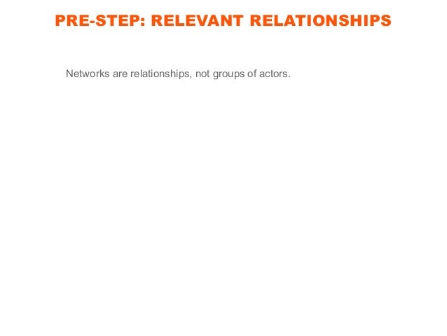 PRE-STEP: RELEVANT RELATIONSHIPS Networks are relationships. Same group of actors can form various networks.