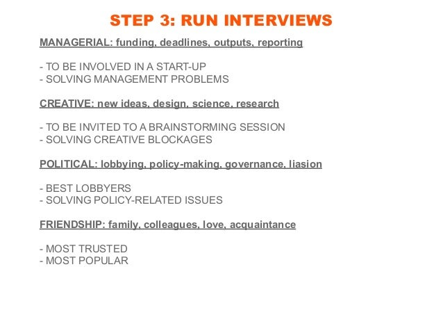 STEP 3: RUN INTERVIEWS MANAGERIAL: funding, deadlines, outputs, reporting - TO BE INVOLVED IN A START-UP - SOLVING MANAGEM...