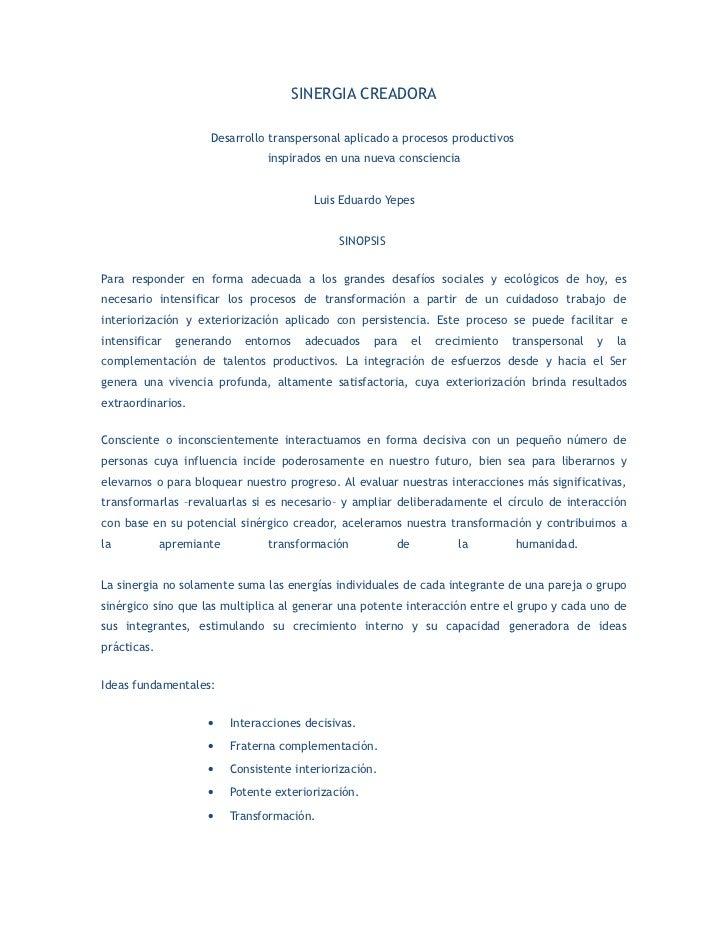 SINERGIA CREADORA                       Desarrollo transpersonal aplicado a procesos productivos                          ...