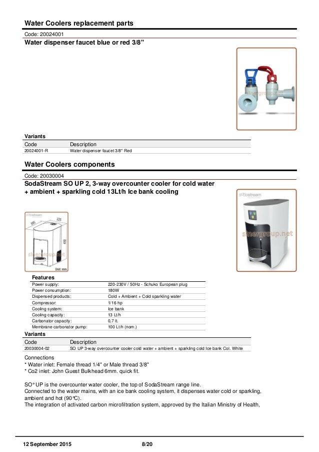 Sinergroup catalog water coolers components spare parts 12092015