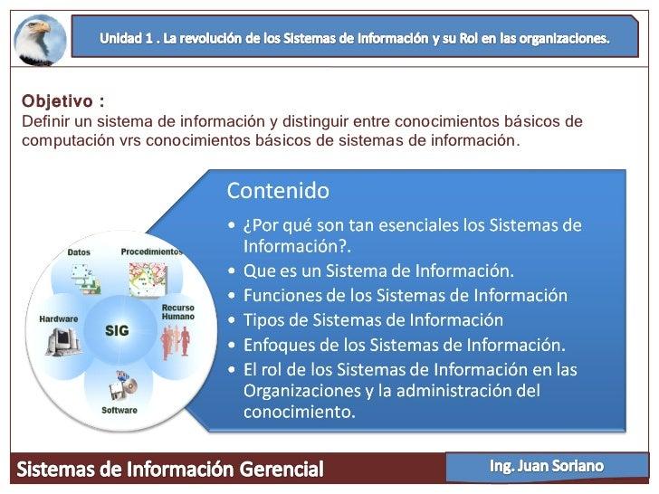 Objetivo : Definir un sistema de información y distinguir entre conocimientos básicos de computación vrs conocimientos bás...