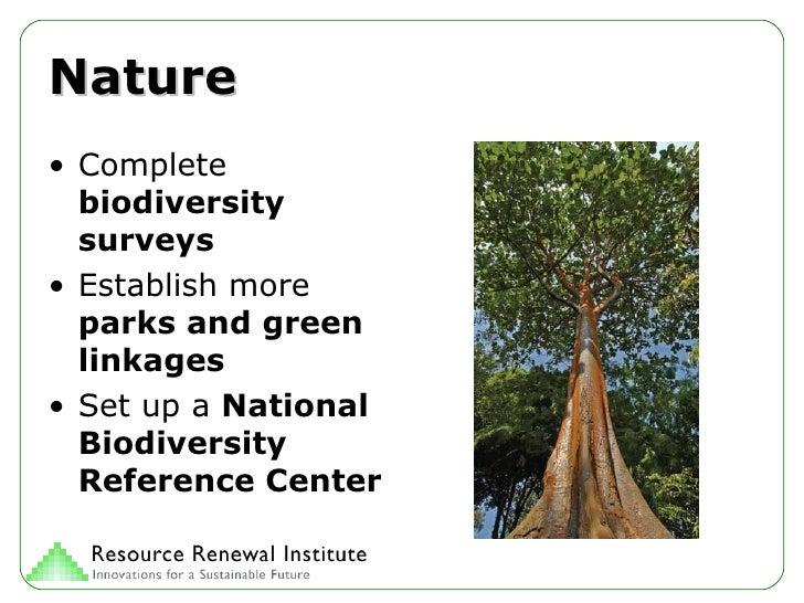 Nature <ul><li>Complete  biodiversity surveys </li></ul><ul><li>Establish more  parks and green linkages </li></ul><ul><li...