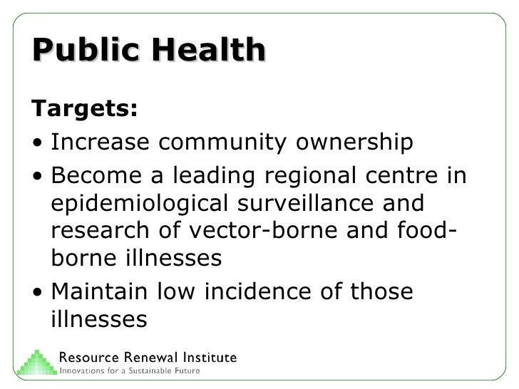 Public Health <ul><li>Targets: </li></ul><ul><li>Increase community ownership </li></ul><ul><li>Become a leading regional ...