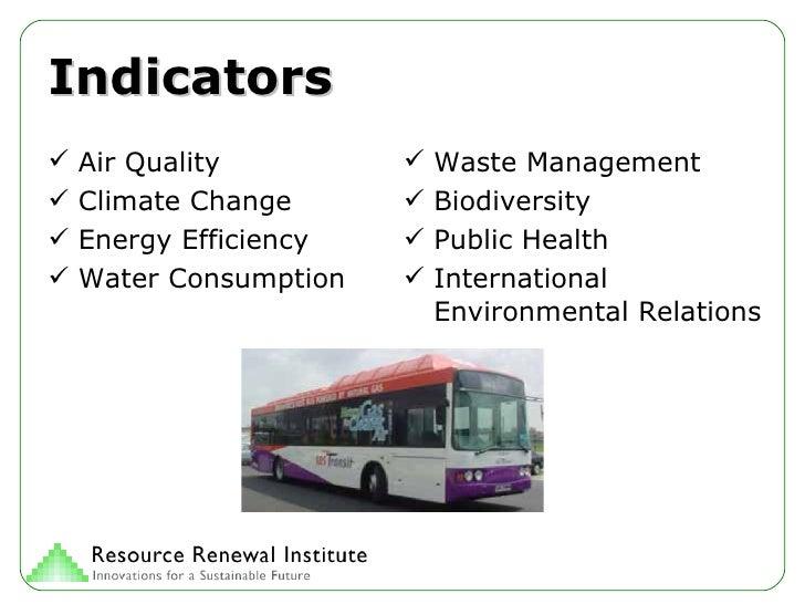 Indicators <ul><li>Air Quality </li></ul><ul><li>Climate Change </li></ul><ul><li>Energy Efficiency </li></ul><ul><li>Wate...