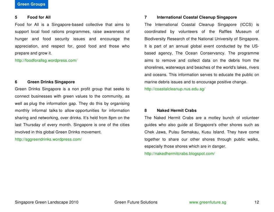 Green Groups   5       Food for All                                                7     International Coastal Cleanup Sin...