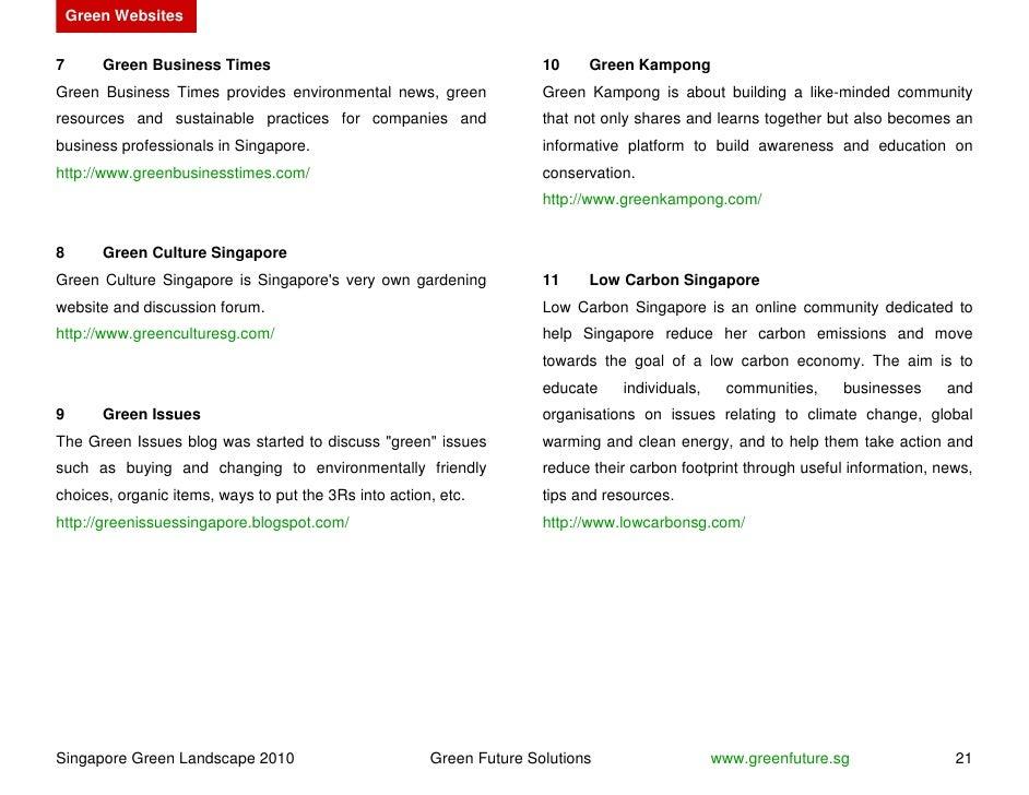 Green Websites   7       Green Business Times                                          10    Green Kampong Green Business ...