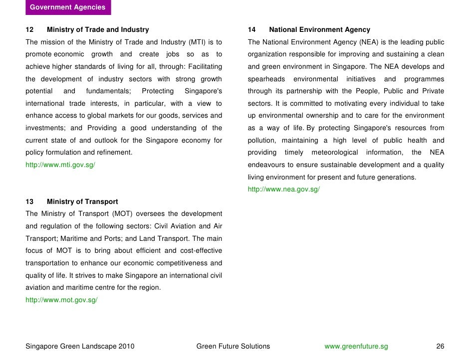 Government Agencies   12     Ministry of Trade and Industry                                      14    National Environmen...