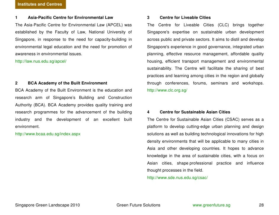 Institutes and Centres   1        Asia-Pacific Centre for Environmental Law                    3       Centre for Liveable...