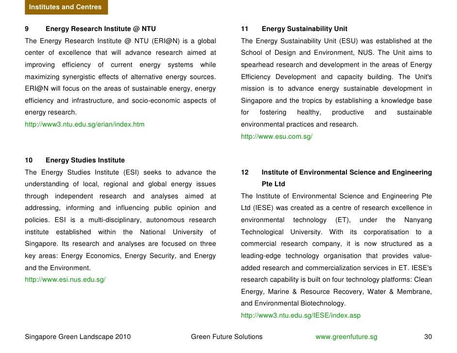 Institutes and Centres   9        Energy Research Institute @ NTU                                  11    Energy Sustainabi...