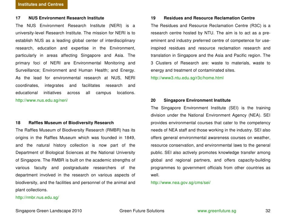 Institutes and Centres   17     NUS Environment Research Institute                                    19      Residues and...