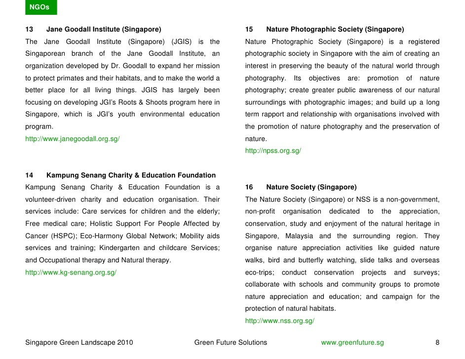 NGOs   13    Jane Goodall Institute (Singapore)                             15     Nature Photographic Society (Singapore)...