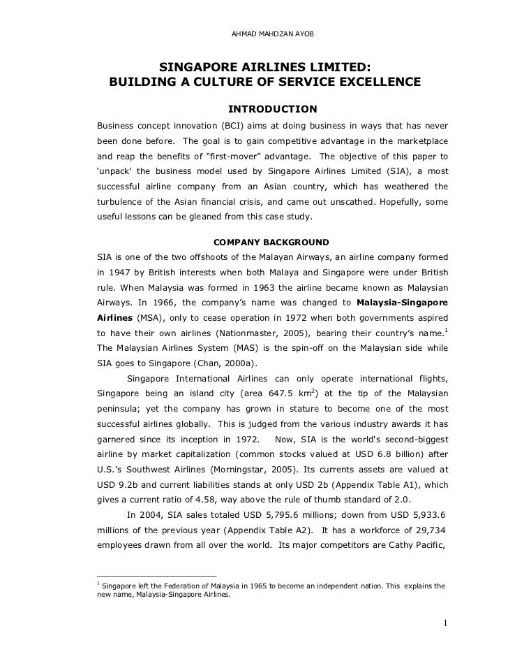 AHMAD MAHDZAN AYOB          SINGAPORE AIRLINES LIMITED:    BUILDING A CULTURE OF SERVICE EXCELLENCE                       ...