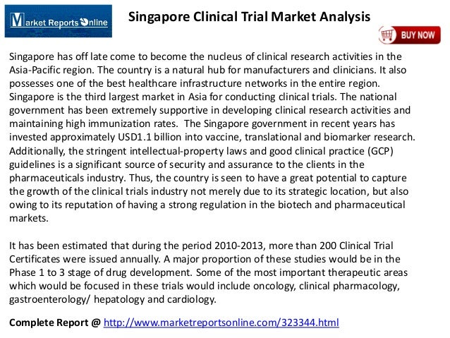 Complete Report @ http://www.marketreportsonline.com/323344.html Singapore Clinical Trial Market Analysis Singapore has of...