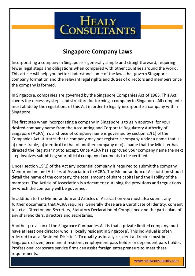 Company Secretarial Services in Singapore