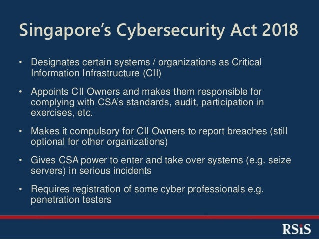 Singapore Cybersecurity Strategy and Legislation (2018)