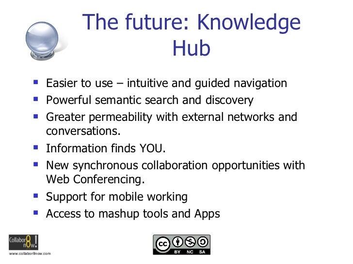The future: Knowledge Hub <ul><li>Easier to use – intuitive and guided navigation </li></ul><ul><li>Powerful semantic sear...