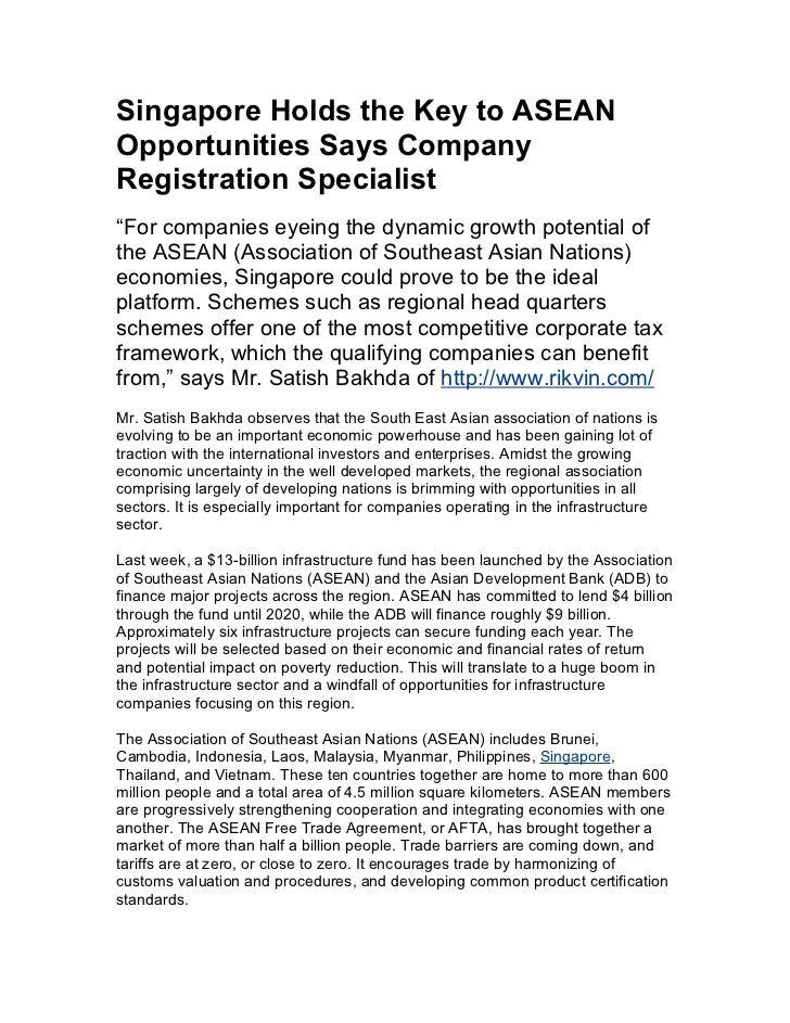 Singapore holds the key to asean opportunities says company registration specialist