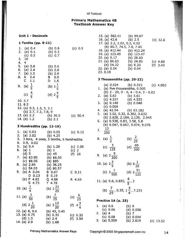 Singapore Math 4B Answer Key