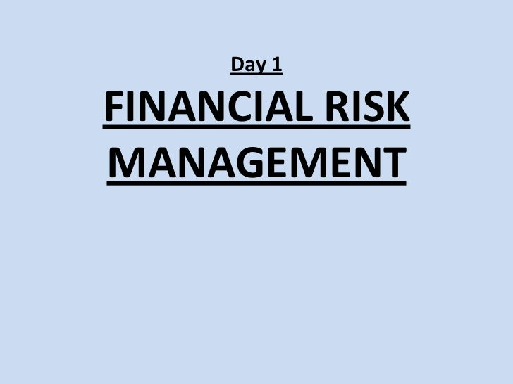 Day 1FINANCIAL RISK MANAGEMENT<br />