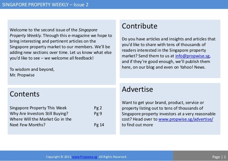 SINGAPORE PROPERTY WEEKLY – Issue 2   Welcome to the second issue of the Singapore                                        ...