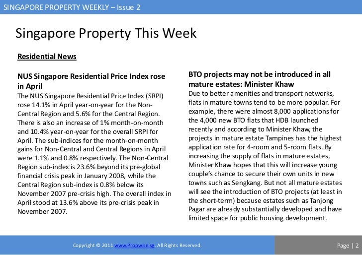 SINGAPORE PROPERTY WEEKLY – Issue 2   Singapore Property This Week   Residential News   NUS Singapore Residential Price In...