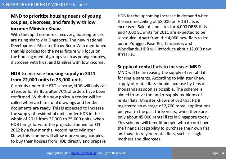 SINGAPORE PROPERTY WEEKLY – Issue 2   MND to prioritize housing needs of young                          HDB for the upcomi...