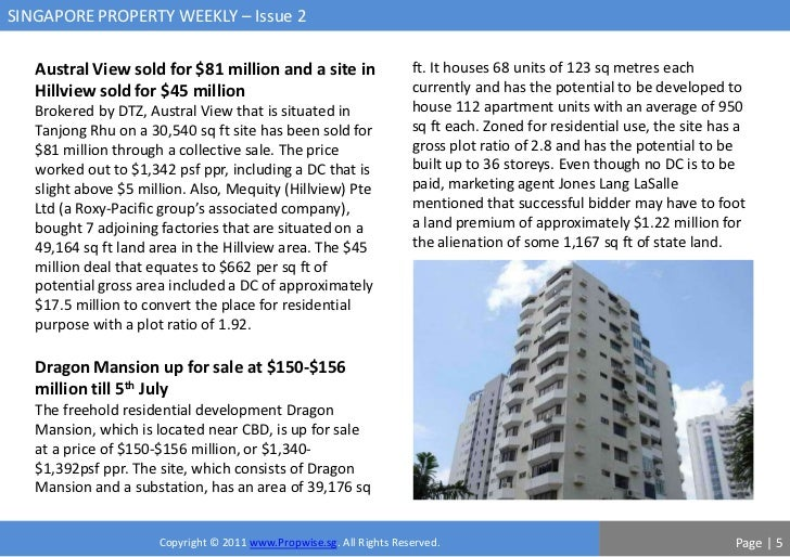 SINGAPORE PROPERTY WEEKLY – Issue 2   Austral View sold for $81 million and a site in                    ft. It houses 68 ...