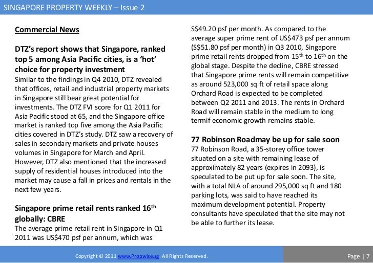 SINGAPORE PROPERTY WEEKLY – Issue 2  Commercial News                                                   S$49.20 psf per mon...