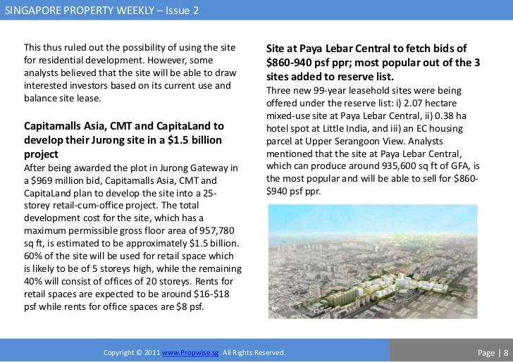 SINGAPORE PROPERTY WEEKLY – Issue 2   This thus ruled out the possibility of using the site              Site at Paya Leba...