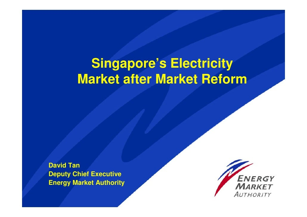 Singapore's Electricity         Market after Market Reform     David Tan Deputy Chief Executive Energy Market Authority