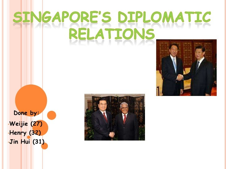Singapore's diplomatic<br /> relations <br />Done by:<br /><ul><li>Weijie(27)