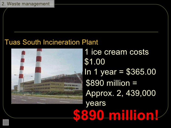 How much does it cost? Tuas South Incineration Plant 1 ice cream costs $1.00 In 1 year = $365.00 $890 million =  Approx. 2...