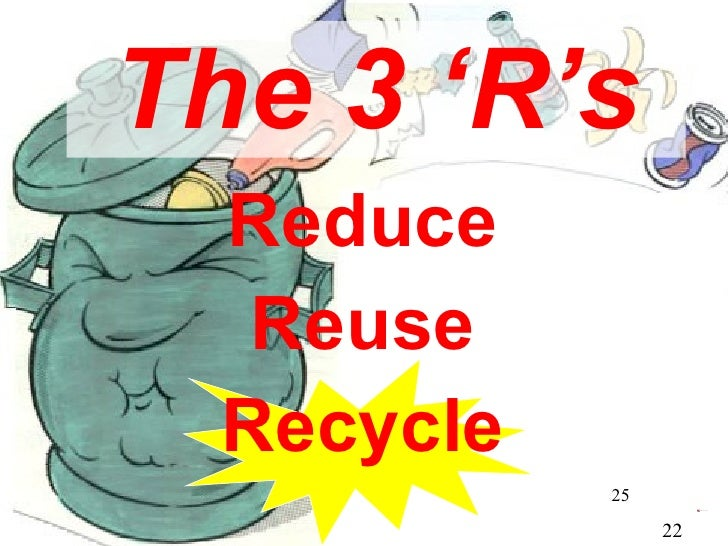 The 3 'R's Reduce Reuse Recycle 22