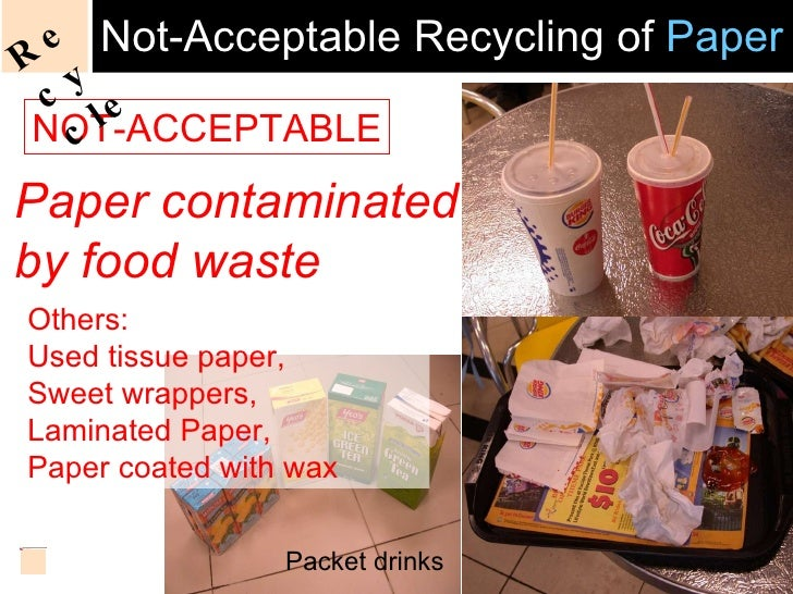 Not-Acceptable Recycling of  Paper NOT-ACCEPTABLE Paper contaminated by food waste Others: Used tissue paper,  Sweet wrapp...