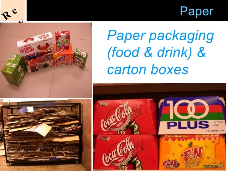 Acceptable   Recycling of  Paper Paper packaging (food & drink) & carton boxes Recycle