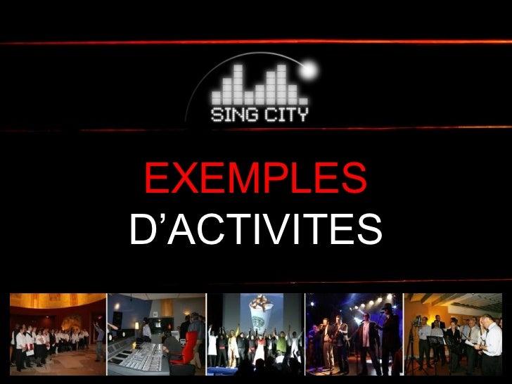 EXEMPLES D'ACTIVITES
