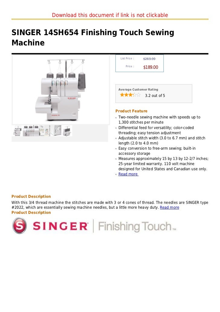 Singer 40 Sh40 Finishing Touch Sewing Machine Fascinating Singer 14sh654 Finishing Touch Serger Sewing Machine
