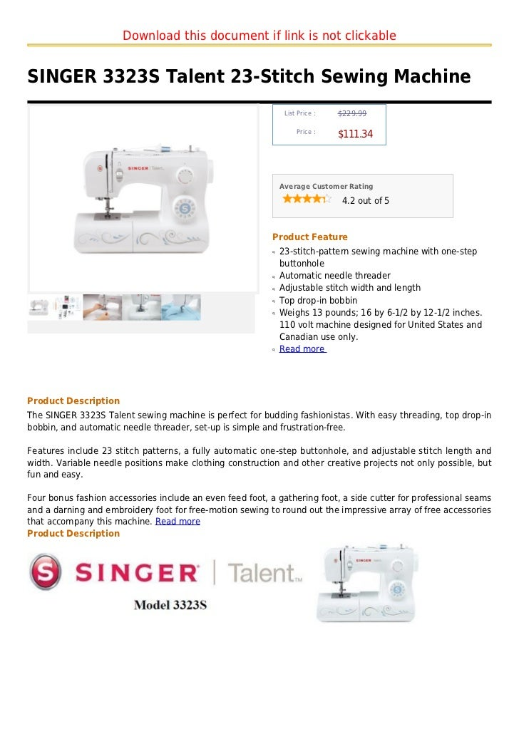 Download this document if link is not clickableSINGER 3323S Talent 23-Stitch Sewing Machine                               ...