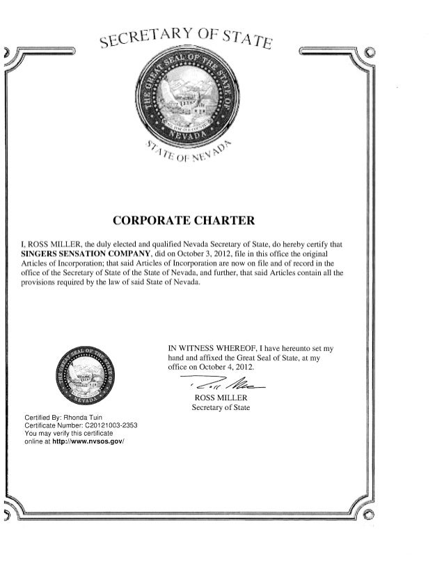 Singers Sensation Corporate Charter And Good Standing Cert
