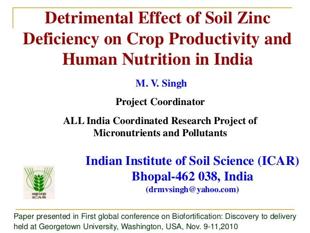 Detrimental Effect of Soil Zinc Deficiency on Crop Productivity and Human Nutrition in India Indian Institute of Soil Scie...
