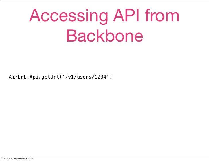 Accessing API from                           Backbone      Airbnb.Api.getUrl('/v1/users/1234')Thursday, September 13, 12